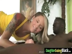 my daughter devours large dark cock in her taut
