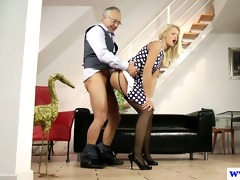 youthful euro wench plays with old mans schlong