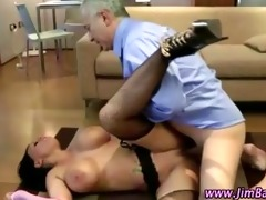 older chap copulates a sexy younger stocking doxy