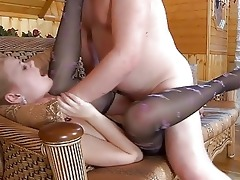 youthful blonde in hose gets slammed by aged dad
