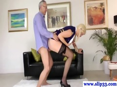 stylish playgirl devours old mans hard jock