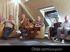 six oldmen team fuck youthful blond