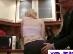 golden-haired does striptease for old man