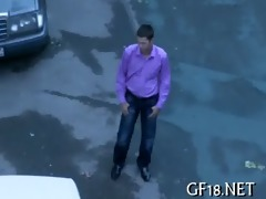 that is chick takes off his blue shirt