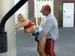 breasty chick fucked by lascivious dad in public