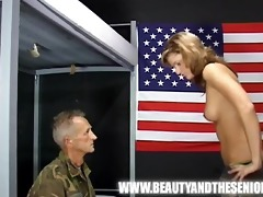 old soldier getting punished by a juvenile cutie
