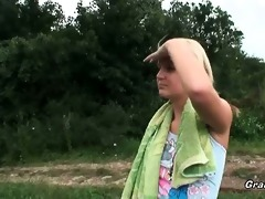 blond honey gives head in the nature