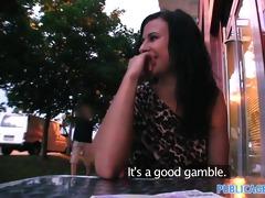 publicagent hawt brunette hair gambles away her