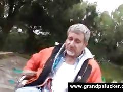 legal age teenager helps granddad with vacuum pump