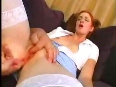 youthful redhead angel drilled by mature stud