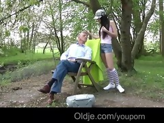 party girl nataly meets an old fellow in the