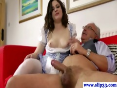 euro babe copulates and sucks his old dick