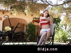 lewd juvenile landlady copulates her old gardener