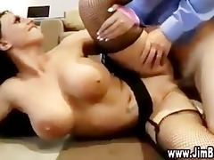 watch large breasts bounce on hot dark brown