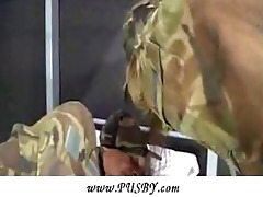 juvenile army gal riding an old veteran