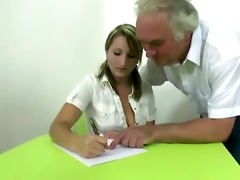 blonde czech student passes exam being drilled by