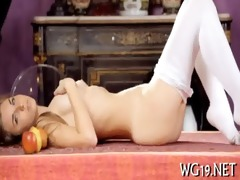 hottie plays with sex tool