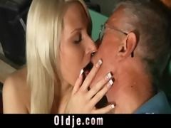 oldman blessed with a youthful fur pie for fuck
